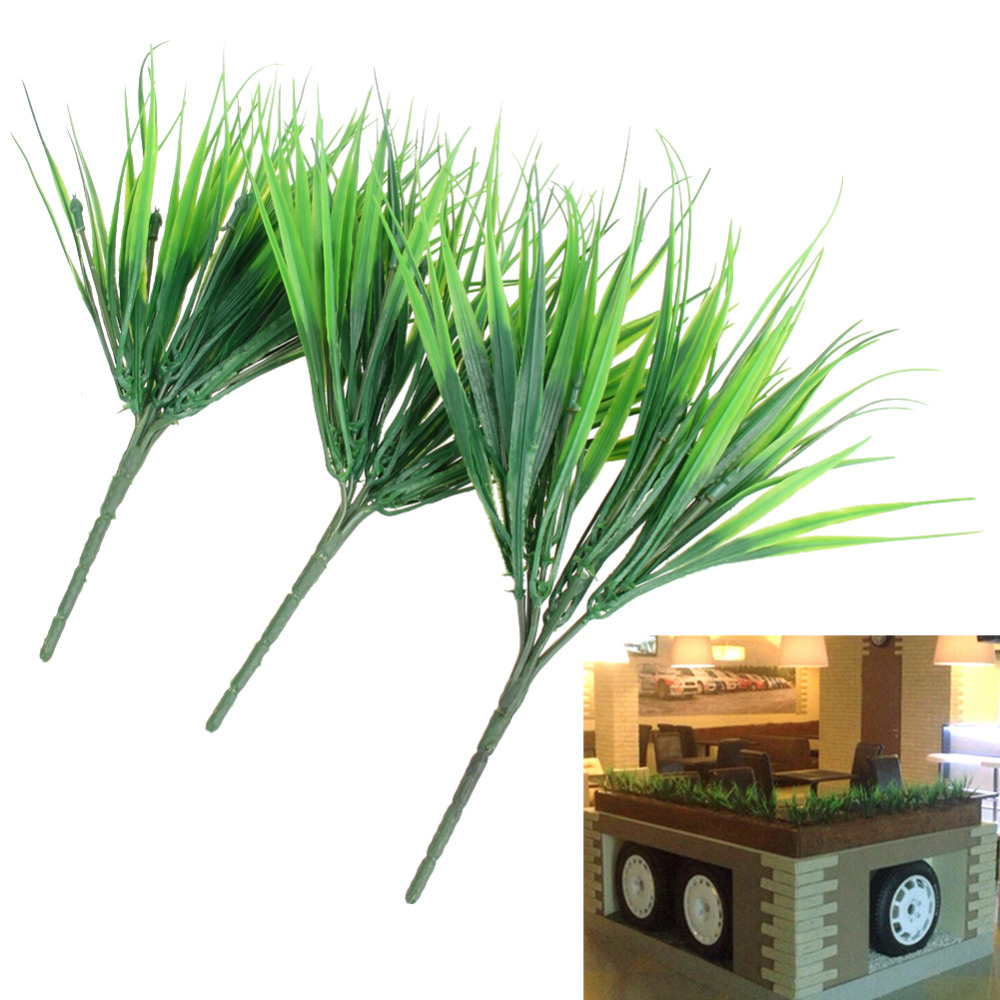 10Pcs/lot Artificial Green Plants 7 Fork Simulation Plastic Fresh Grass for Aquarium Fish Tank Decoration Aquatic Supplies