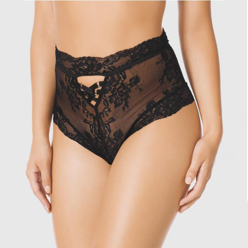 279ed1d54be2 Sexy Transparent Black High Waisted Lace Panties Women Lace Up Floral  Printed Underpants Lingerie Brand Fashion Bodyshort Panty