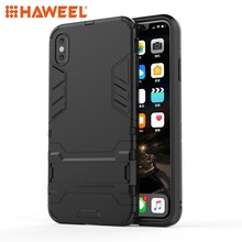 HAWEEL PC + TPU Shockproof Protective Case with Holder For iPhone XR XS MAX Mobile Phone Cover Shell