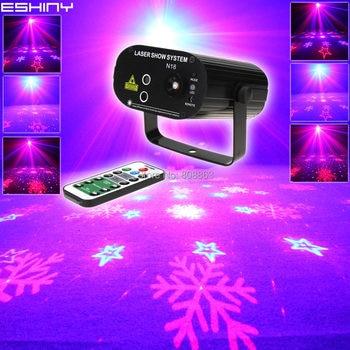 ESHINY Remote MINI R&B Laser 6 Patterns Projector Blue Led Club Bar DJ Dance Xmas Disco School Party Stage Effect Light NB103D4
