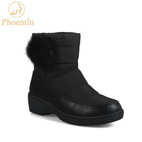 Phoentin black snow boots women russia winter warm ankle boots down flat heels platform female shoes with faux fur ball FT552