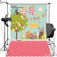 Happy Easter Vinyl Photography Background For Baby Cartoon Eggs Oxford Backdrop For Photo Studio Props 237