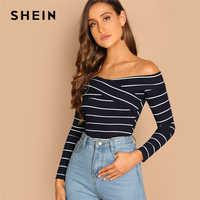 Shein indo para fora highstreet elegante cruz envoltório fora do ombro listrado pullovers t outono feminino casual camiseta
