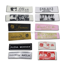 Free shipping custom clothing iron-on woven labels/NOT SEWED garment embroidered tags/T-shirt labels 1000 pcs a lot