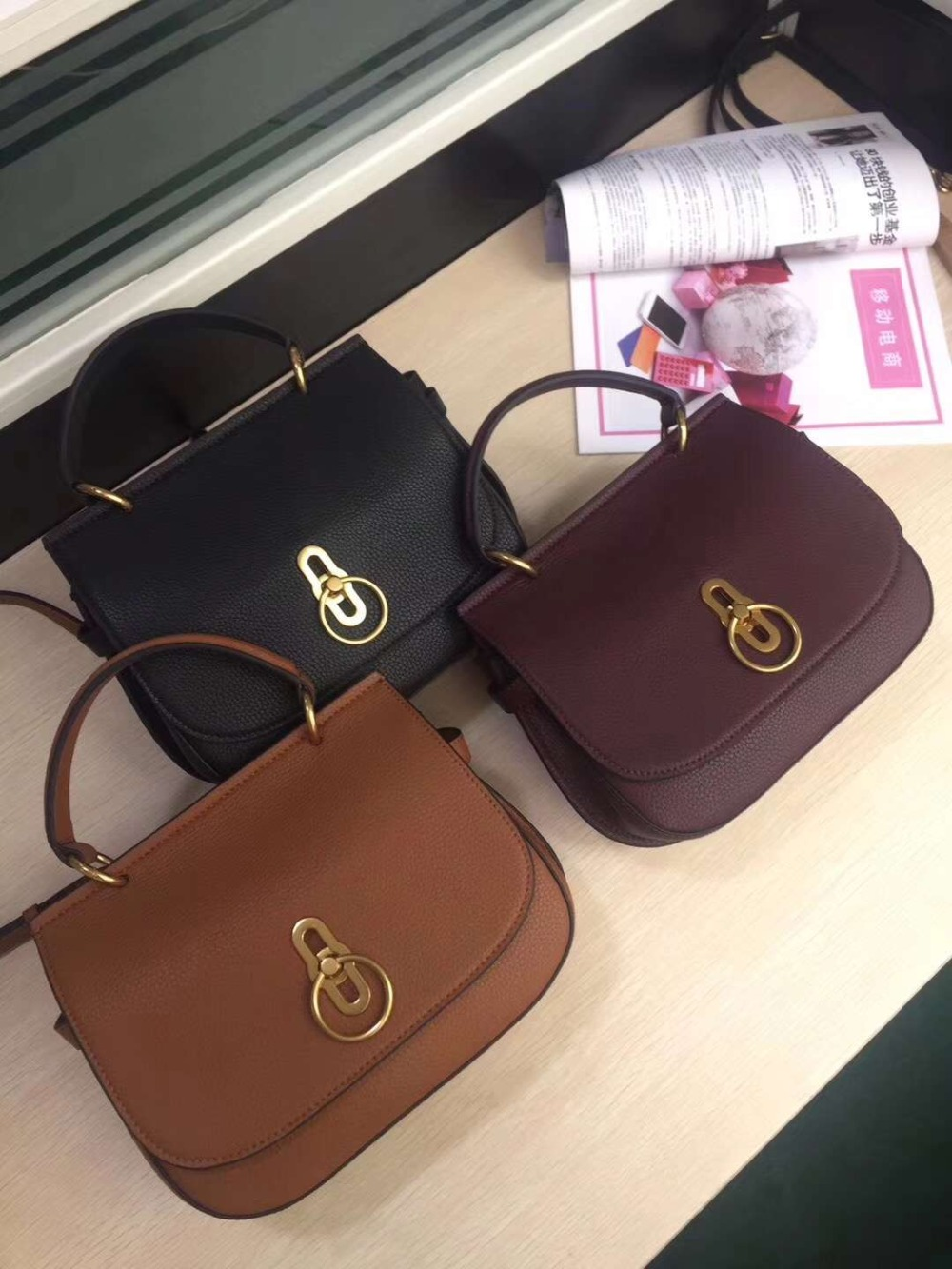 free shipping 2019 the new style magazine fashion round of saddle bag genuine leather handbag shoulder bag