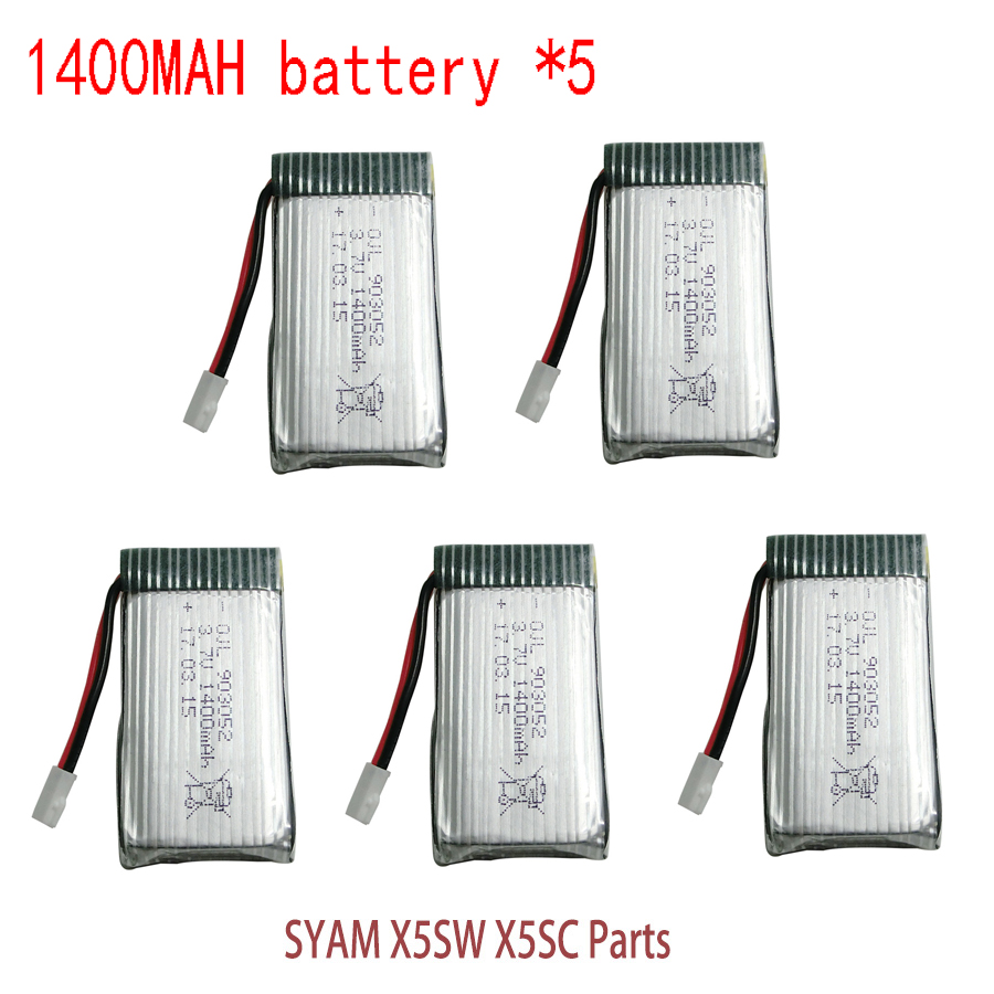 Syma X5SW Battery RC Drone Lipo Battery 3.7v 1400mAh For Syma X5SW X5SC RC Helicopter Spare Parts Extra Battery lipo battery 7 4v 2500mah for mjx f45 f645 t23 rc parts helicopter battery can add 3in1 charger f45 22 extra spare toys