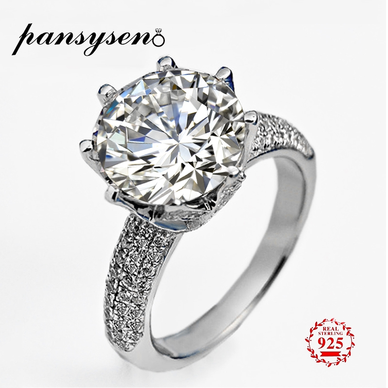 PANSYSEN Classic 3ct Big Created Moissanite Gemstone Wedding Engagement Rings For Women S925 Silver Jewelry Brand Bridal Ring