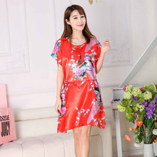 Nightgown Pajamas Lady Simulation Silk Large Size Nightdress Female Plus Fat Home Service
