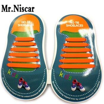 672304b7c69 Sr. Niscar 1 Unidades/12 Unids Sin Corbata Tieless Cordones de Los Zapatos  Cordones de Los Zapatos Planos Niños Impermeable de Silicona Elástica  Ajuste ...