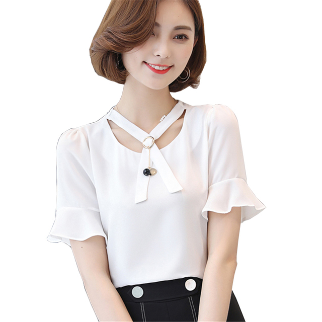 40176a27ec74c 2017 New Summer Fashion Style Women Tops Solid Sweet Lady Blouse O-Neck  Beading Short