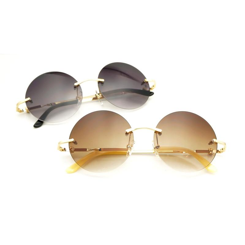Vintage Rimless Round Sunglasses Women for 2018 Summer Beach Outdoor Retro Carter Sun Glasses Men Lady Gafas Frame Accessories