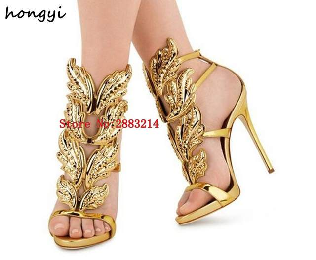 Sexy Bling Crystal Drilled Angle Wings High Heel Sandals Shiny Leather  Bridal Gold Plated Winged Gladiator 704fcbfa961d
