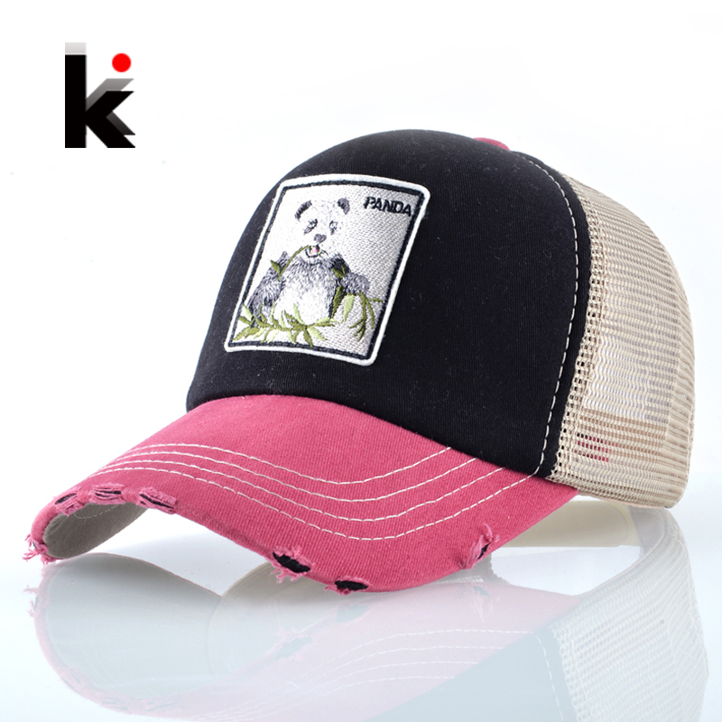 Panda Trucker   Cap   Snapback Patch   Baseball     Cap   Women Casual Breathable Mesh Hats For Men Unisex Hip Hop Casquette