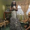 2017 Preto Da Menina Brilhante Penas Sereia vestidos de Baile longos vestidos Formais Moda Casais Nigéria Árabe vestidos Ocasião À Noite
