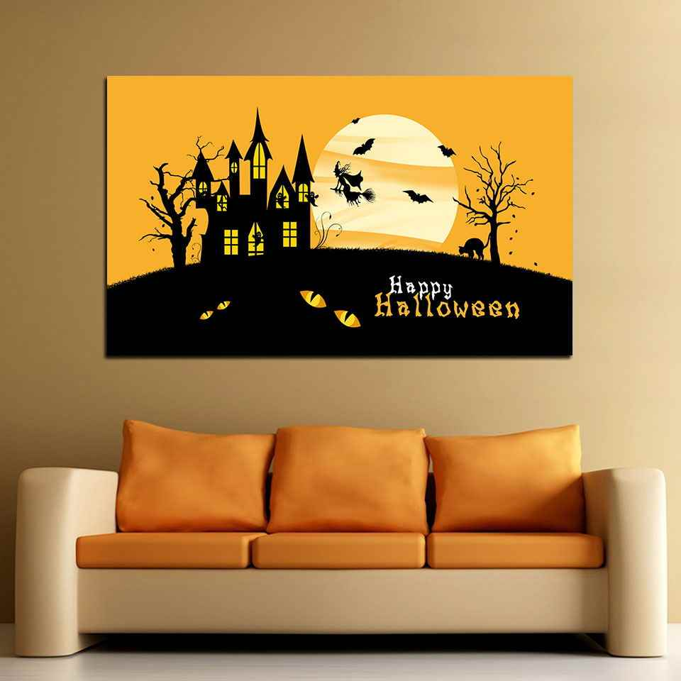 Canvas Painting Home Kids Room Modular 5 Set Prints Poster Halloween House Modern Frame House Decoration Hang Pictures Wall Art