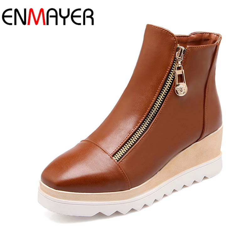 ФОТО ENMAYER Plus Size34-43 New Fashion Wedges Heels High SpringAutumn Ankle Boots Platform Winter Women Boots Zip Casual Shoes Woman