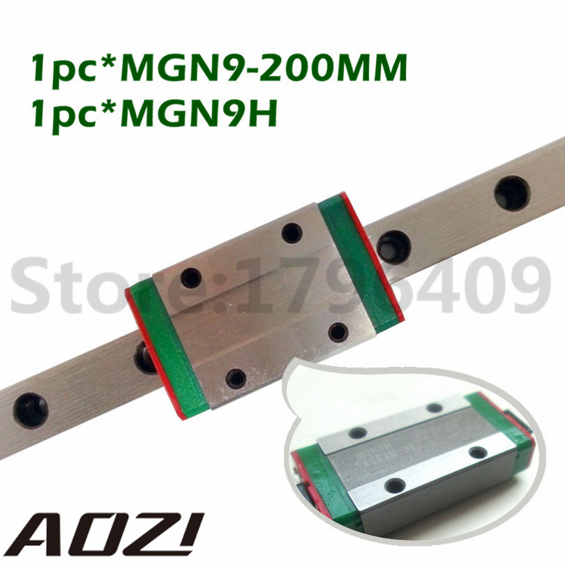 1PC 9mm Miniature Linear Guide MGN9 L200mm Linear Rail With 1pcs MGN9H Linear Carriages Block For CNC Parts 3D Printer roland sj 640 xj 640 l bearing rail block ssr15xw2ge 2560ly 21895161 printer parts