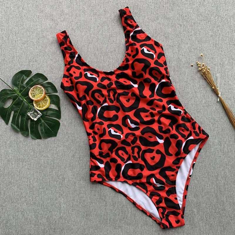 2019 جديد مثير الأحمر ليوبارد قطعة واحدة ملابس السباحة النساء الجسم الدعاوى رفع ملابس النساء البرازيلي الشاطئ ثوب السباحة ملابس سباحة حريمي فتاة