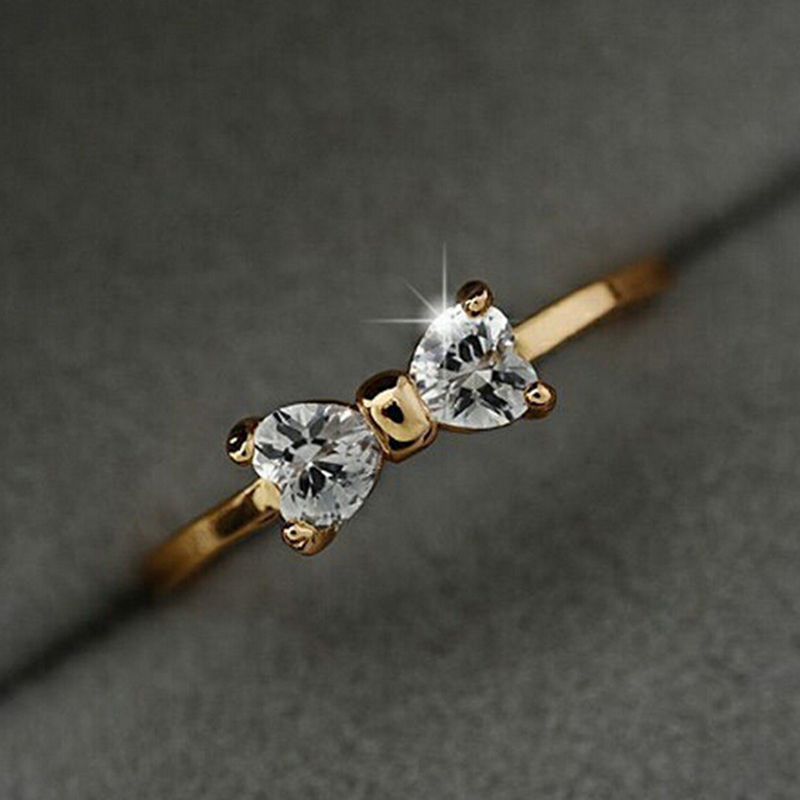Crystal Rings Female Anillos Gold Zircon Bow Finger Ring For Women ...