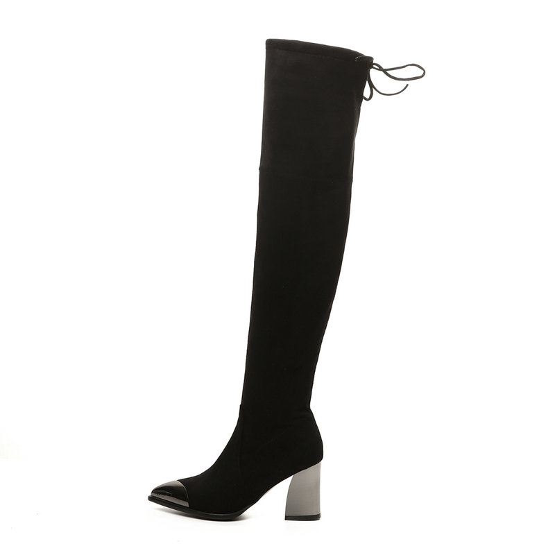 Для женщин слипоны толстые ботфорты на высоком каблуке Модные острый носок замшевые сапоги до бедра эластичная обувь Черный, серый цвет