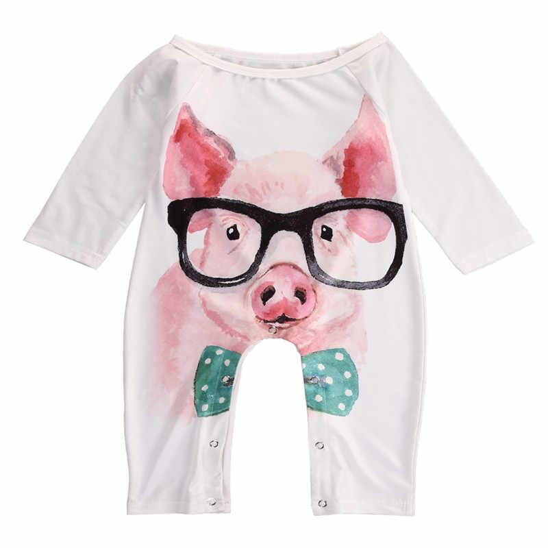 Детский осенний комбинезон для новорожденных для маленьких девочек с длинным рукавом Симпатичные свиней с Очки комбинезон Детские комбинезоны одежда в загородном стиле