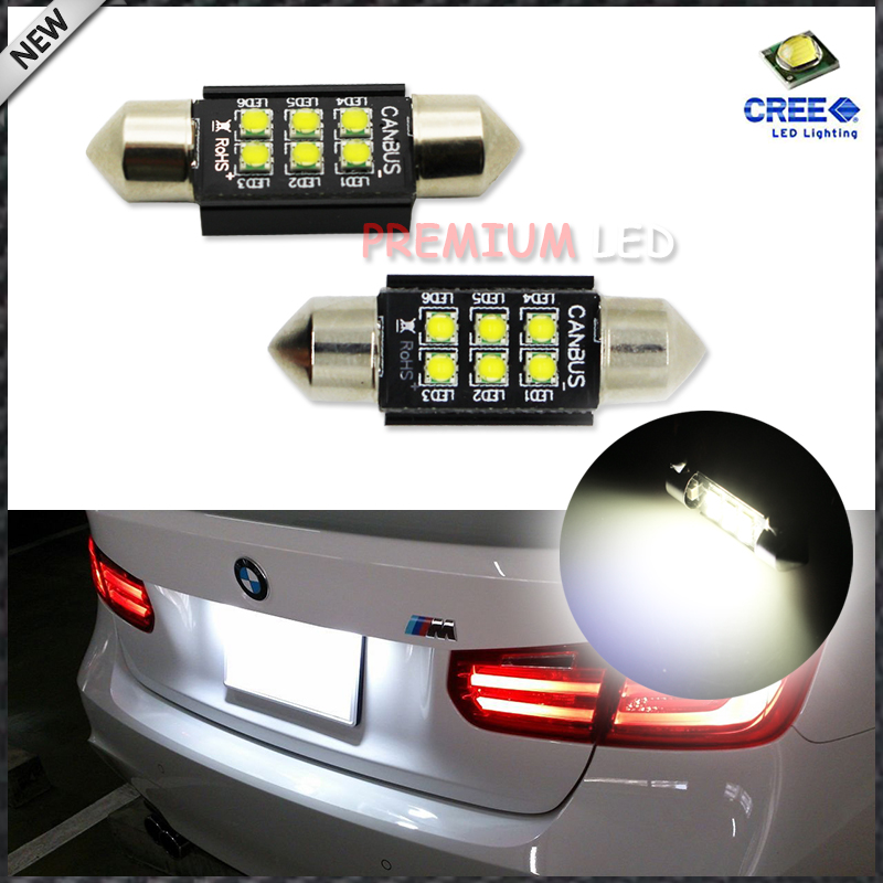 (2) Xenon White 6-CRE'E 1.50 36mm 6418 C5W CANbus LED Bulbs, Error Free For Audi BMW Mercedes Porsche VW License Plate Lights deechooll 2pcs wedge light for mazda 2 3 5 6 mx5 rx8 cx7 626 gf gg ge gw canbus t10 57smd 6w led clearance xenon lighting bulbs