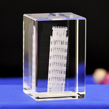 The Leaning Tower of Pisa K9 Crystal Laser 3D Internal Statue Sculpture Inter-engraving Figurines Miniatures Home Decor
