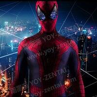 YOY ZENTAI Высокое качество 3D паутины Удивительный Человек паук 2 костюм с 3D грудь паук назад с красочными линзами