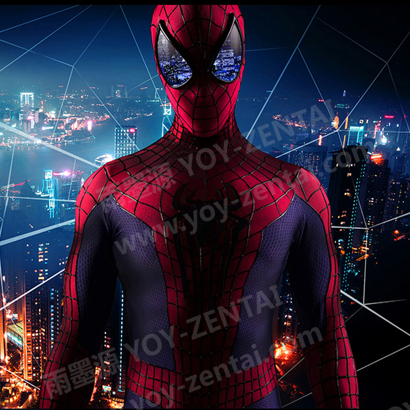 YOY-ZENTAI  High Quality 3D Cobwebs Amazing Spider-Man 2 Costume With 3D Chest Spider Back Spider With Colorful Lenses