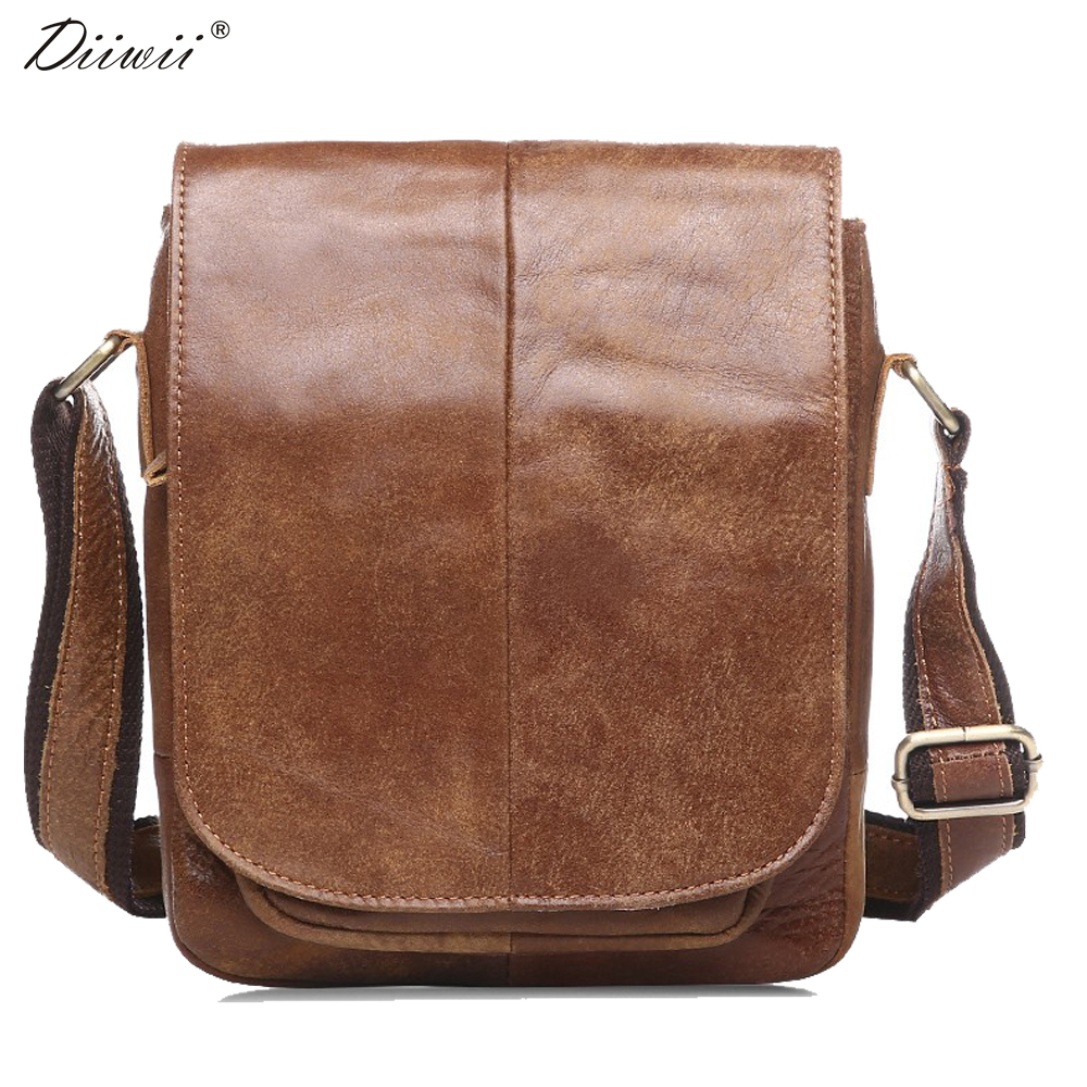 ФОТО Diiwii bag New Arrival genuine leather man bag cowhide leather crossbody bags single shoulder bag for men