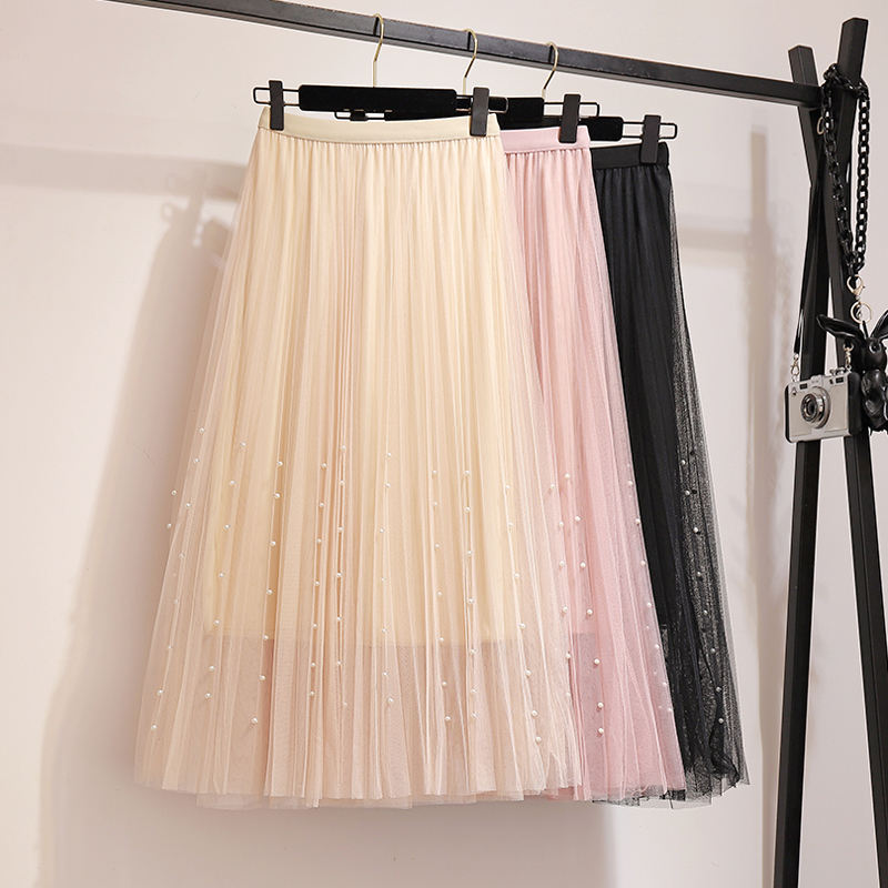 New 2019 Spring Summer Skirts Womens Beading Mesh Tulle Skirt Women Elastic High Waist A Line Mid Calf Midi Long Pleated Skirt 26