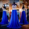 Azul Royal Vestidos de Baile 2017 Querida Backless Apliques de Ouro de Cristal Mais Recentes Modelos Vestido De Noite Barato vestido de festa