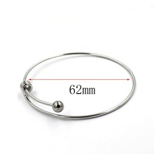 62mm Adjustable Set Stainless Steel Bracelets Bangles Cuff Bracelet Silver Color Expandable Wrist Bangles For Women цена
