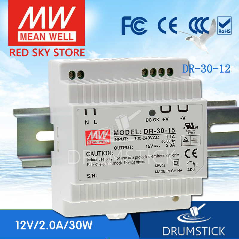 (12.12)MEAN WELL DR-30-12 12V 2A meanwell DR-30 24W Single Output Industrial DIN Rail Power Supply [Hot6] [sumger2] mean well original dr 100 15 15v 6 5a meanwell dr 100 15v 97 5w single output industrial din rail power supply