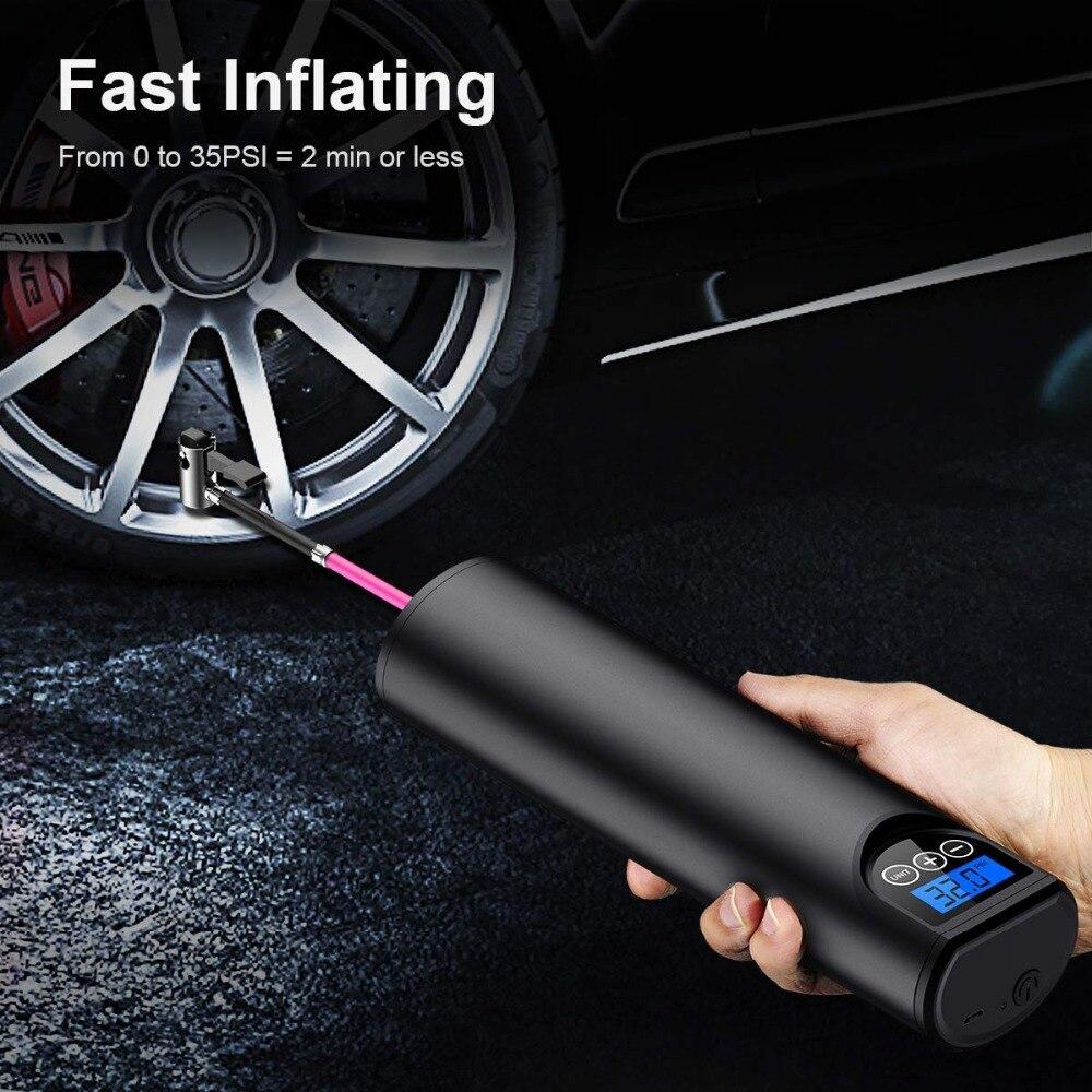 Насос для шин беспроводной портативный компрессор Цифровой Автомобильный шинный насос 12 В 150 фунтов/кв. дюйм перезаряжаемый воздушный насос для автомобильных велосипедных шин