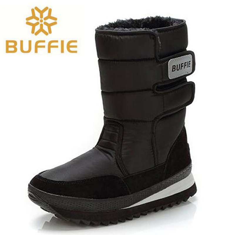Men Boots Black Mid-calf Winter Snow Boots High Quality Waterproof non-slip warm winter Shoes plus Size 36 - 47 double buckle cross straps mid calf boots
