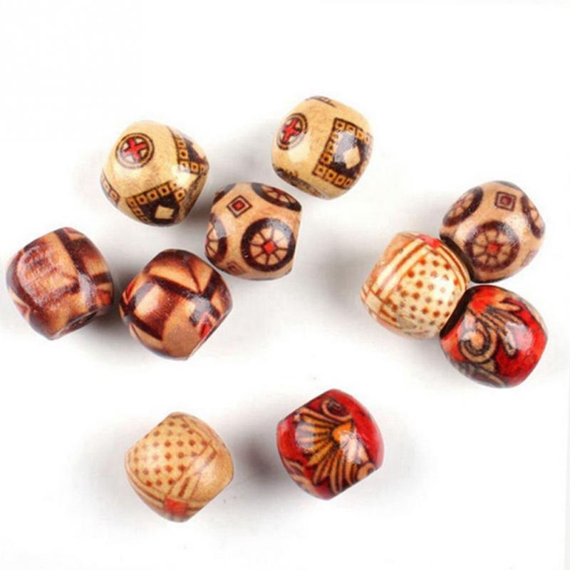 100шт смешанные деревянные бусины большая дыра бусины Fit браслет DIY для изготовления ювелирных изделий 9x10mm