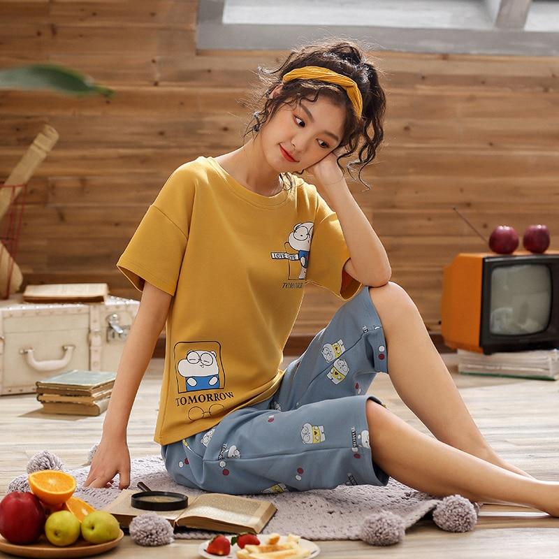 Pajamas     Sets   for Women 2019 Summer Fashion NightWear Leisure Home Cloth woman short Sleeve cute pyjama Girl Sleepwear   Set