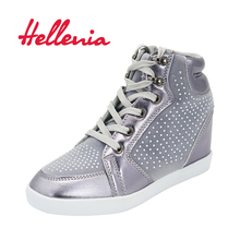 Fashion ankle boots young girls kids shoes sports children shoes high wedges heels Casual lace up silver size 33-36 Hellenia