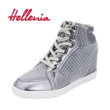 Helleniagirls Kinderschuhe junge Mädchen Sport Kinder Schuhe mit hohen Absätzen 6cm Casual Sneakers schnüren sich silber Mode Größe 33-36