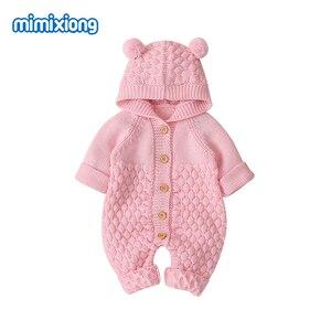 Image 4 - Śpioszki dla niemowląt z dzianiny kreskówka niedźwiedź noworodka chłopiec kombinezony Autum z długim rękawem maluch dziewczyna swetry ubrania dla dzieci kombinezony zimowe