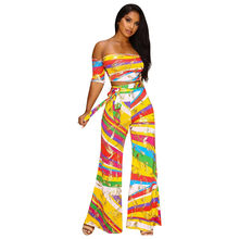 08d995a75e4c Multi color Striped Print Two Piece Set Women Sexy Backless Crop Top And Flare  Pants Suits Wide Leg Overalls Summer Mono Mujer