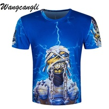 Фотография Wangcangli Very Personality Men Iron Maiden T Shirts For Men 3D Printed Skull Cotton T-Short Compression Skeleton Funny Top Tees