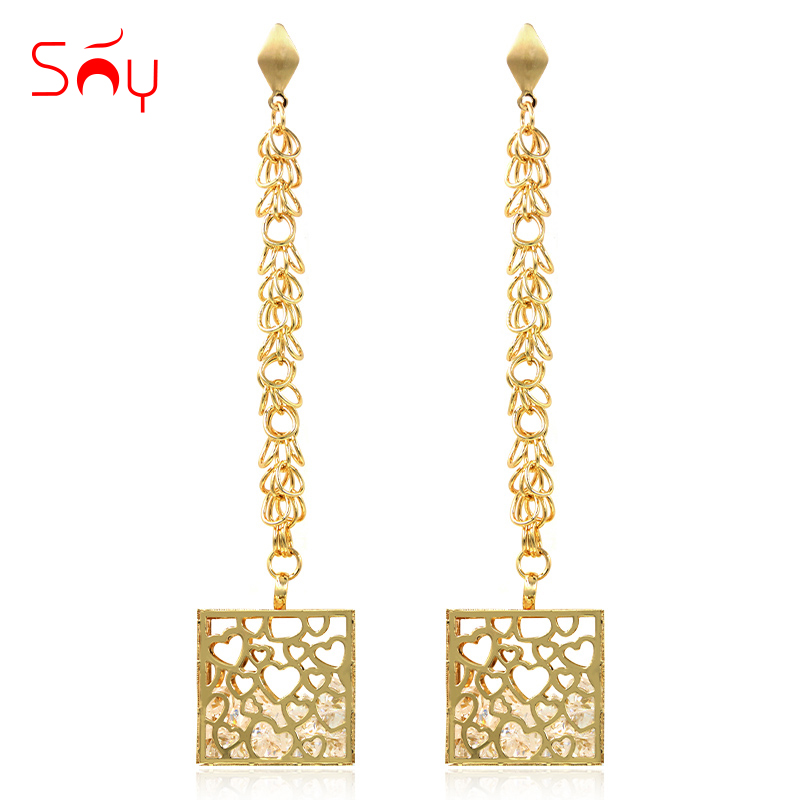 Sunny Jewelry Drop Dangle Earrings Fashion Jewelry 2018 For Women High Quality Zircon Big Square Hollow For Wedding Party Gift