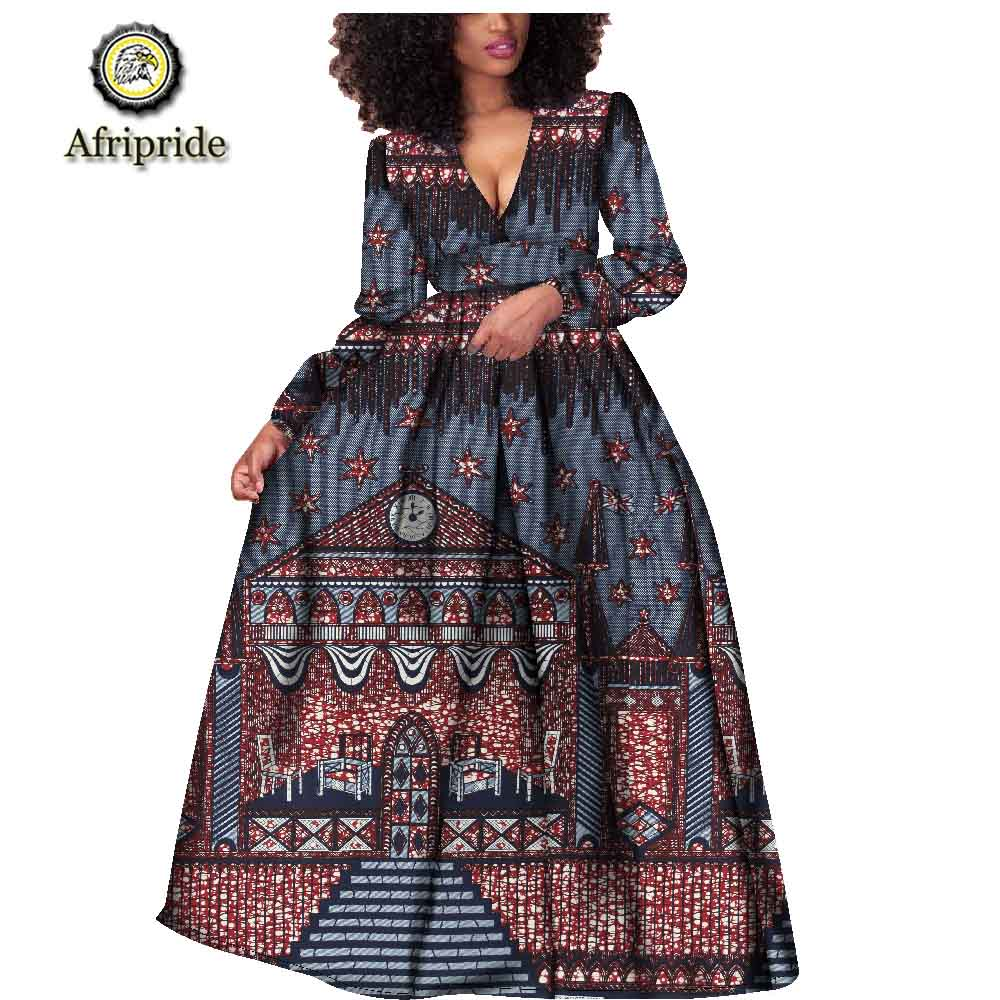 2018 2019 African women dress ankara print pure cotton bashiki bazin riche new style dress African fabric AFRIPRIDE S1825021 in Dresses from Women 39 s Clothing