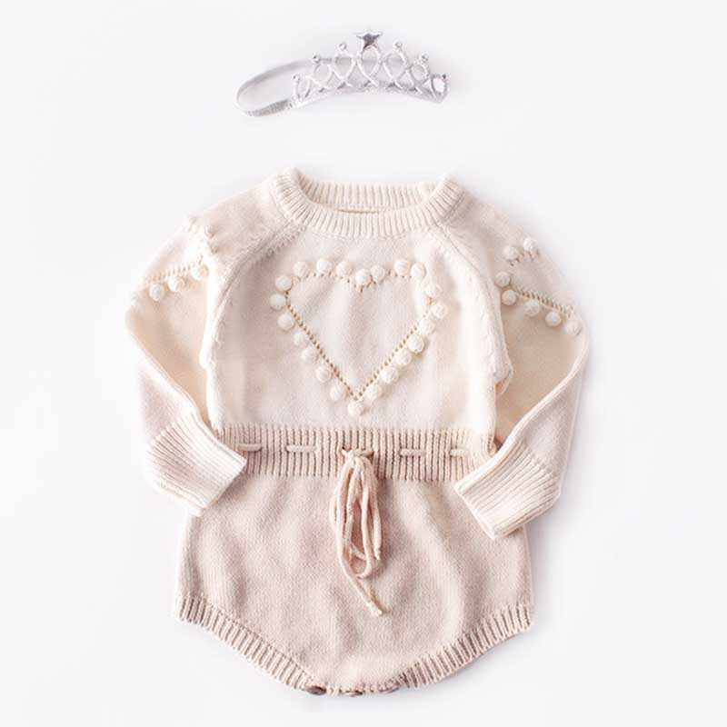 Baby Girl Long-sleeve Knitted Overalls Autumn Baby Knitted Rompers Sweater Infant Girl Princess Cotton Clothes Baby Girl Romper