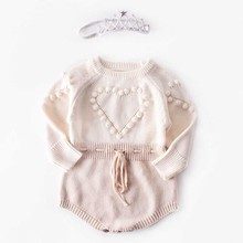 Knitted Rompers Sweater Cotton Clothes Baby-Girl Long-Sleeve Princess