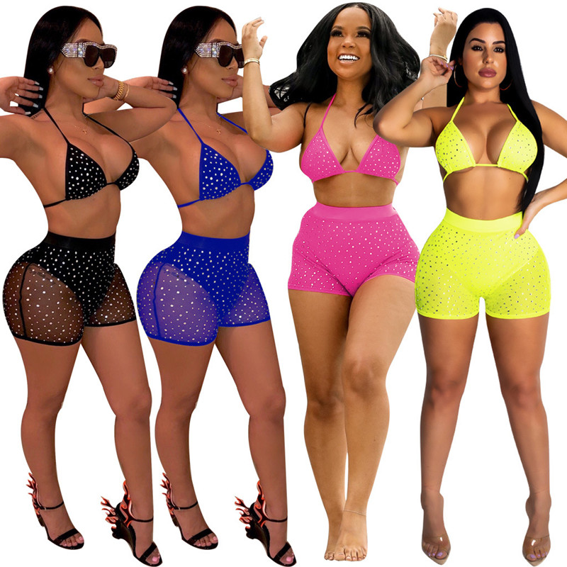 Summer Womens Two Piece Set Nightclub Sequin V-neck Lace Up Short Top Hot Drilling Hot Pant Bag Hip Mesh Gauze Sexy Set