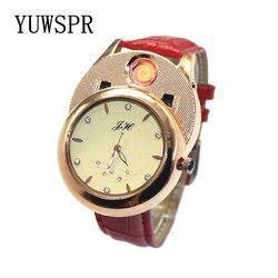 ساعة نسائية ولاعة السجائر ساعات كوارتز USB قابلة للشحن يندبروف عديمة اللهب الإبداعية البيئية الإناث هدية JH366 1 قطعة