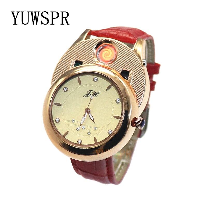 Women Watch Cigarette Lighter Quartz Watches USB Rechargeable Windproof Flameless Creative Environmental Female Gift JH366 1pcs